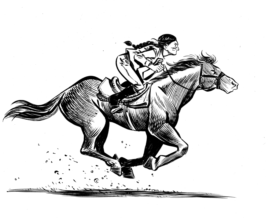 Based on actual events, the graphic novel <em>Grand Theft Horse</em> tells the story of a trainer who rescues a horse from its villainous owner. Journalist Taylor Haney set out to learn how much of the story is true. Above, a scene from the novel.