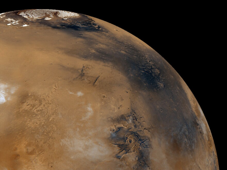 Mars, seen in this composite image, has a lot of water in its polar ice caps. If water is also trapped in the planet's crust, experts say, it could house microbial life.