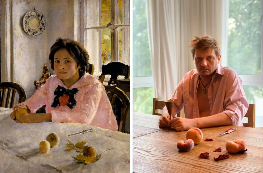 Sasha Nikolov, a resident of Kyiv, Ukraine, makes for a surly stand-in for Valentin Serov's iconic <em>Girl With Peaches.</em>