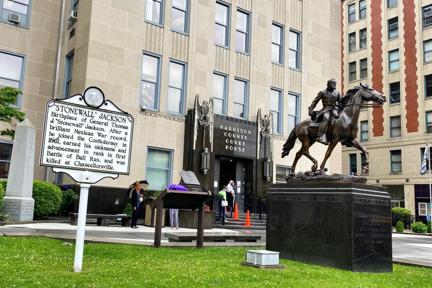 The Harrison County Commission voted Wednesday, June 17 to reject a motion to remove a statue of Confederate Gen. Stonewall Jackson. The statue, erected in 1953 as a gift from the United Daughters of the Confederacy, stands in front of the courthouse.