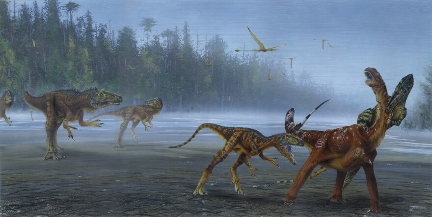 An artistic rendering of the dinosaur.