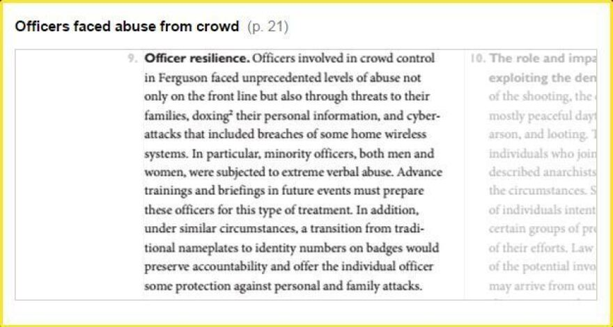 """Officers involved in crowd control in Ferguson faced unprecedented levels of abuse not only on the front line but also through threats to their families, doxing their personal information, and cyber-attacks that included breaches of some home wireless systems."""