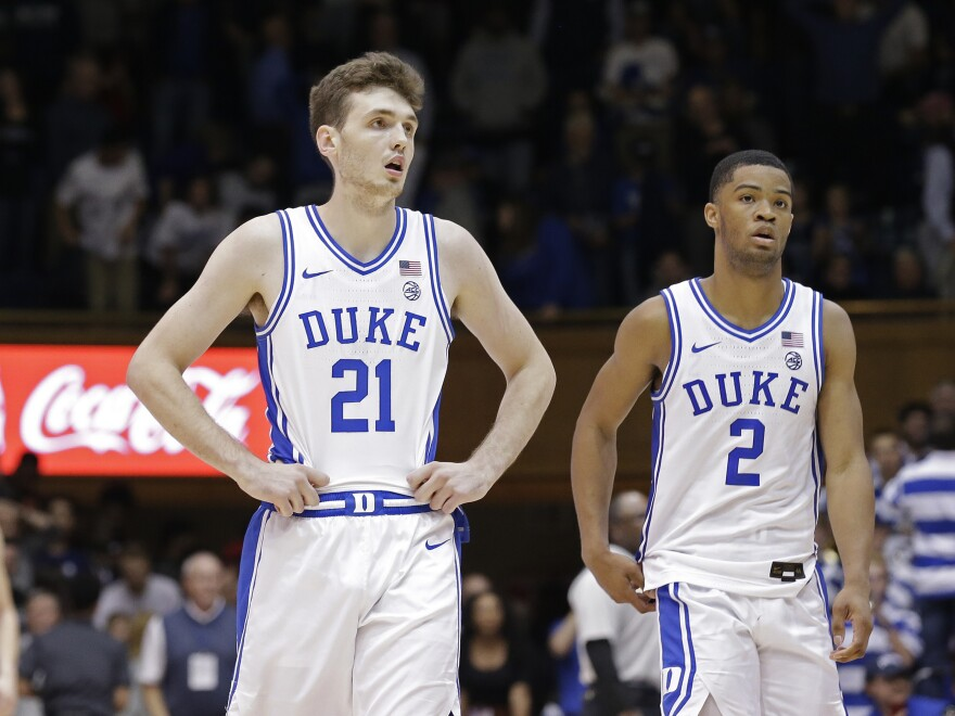 Duke forward Matthew Hurt (21) and guard Cassius Stanley (2) react following the team's loss to Stephen F. Austin in overtime.