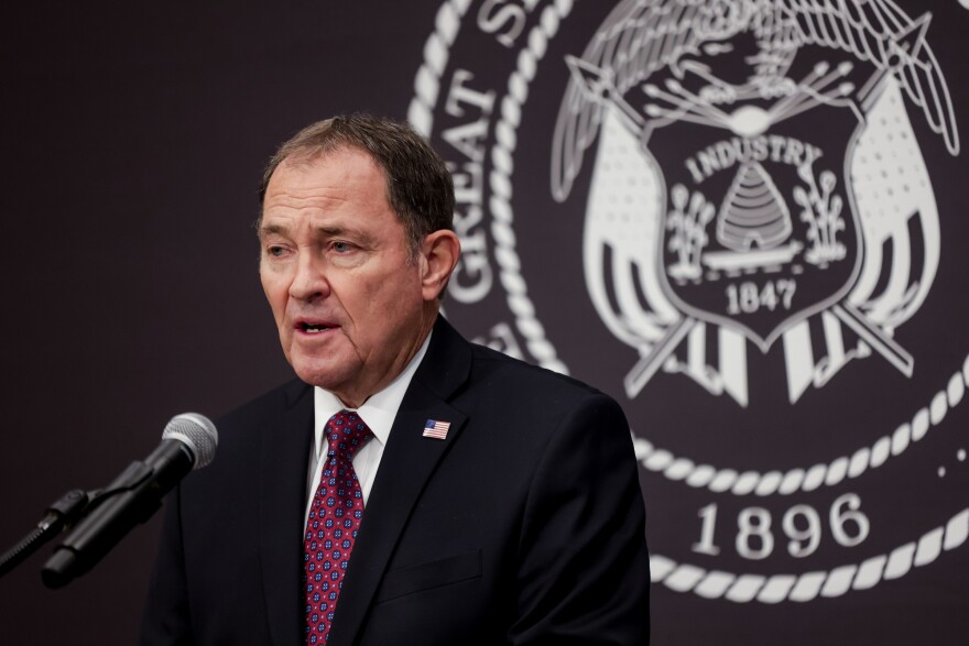 A photo of Gov. Gary Herbert at the COVID-19 press conference.