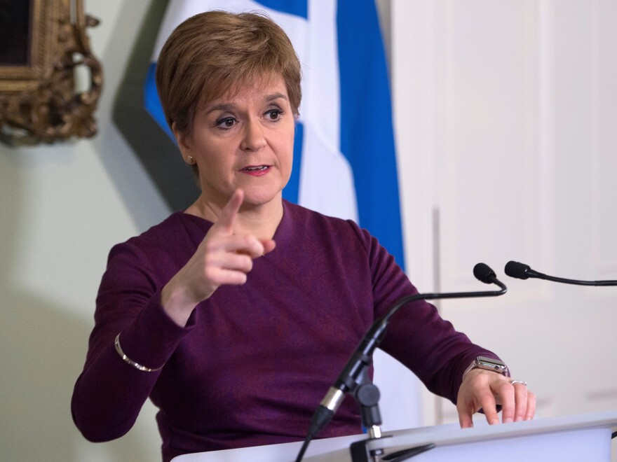 Scottish National Party leader and Scotland's First Minister Nicola Sturgeon is calling for a second referendum on Scottish independence, saying voters endorsed the idea during the U.K.'s recent elections. Sturgeon is seen here Thursday at Bute House in Edinburgh.