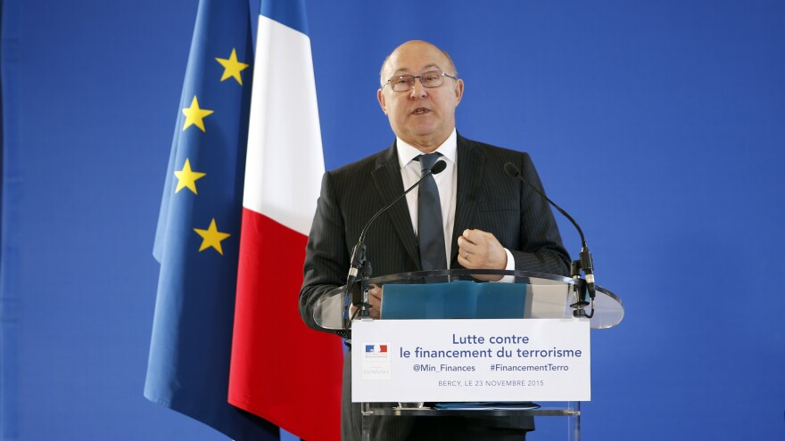 French Finance Minister Michel Sapin speaks about the financing of militant groups during a news conference Monday at the Bercy Economy and Finance Ministry in Paris.