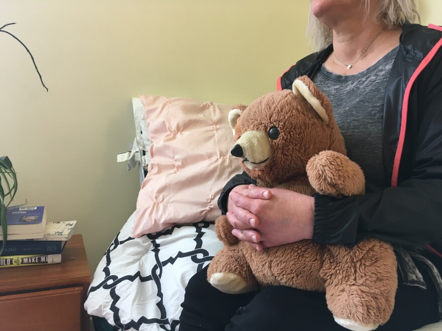 "Kim has been living at the Epiphany Center, a treatment facility in San Francisco for women struggling with addiction, for the past six months. She says her teddy bear is her only material possession left from her past: ""Because everything I had, I've lost over and over again."""
