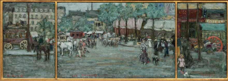 In the decades before World War I, French artists began painting scenes of ordinary life — on the street, at work, at home, in the clubs and cafes. An exhibition at the Norton Simon Museum is dedicated to this <em>Belle Époque</em> or beautiful era. Above, Pierre Bonnard's 1900 oil on cardboard triptych <em>The Place Clichy, Paris.</em>