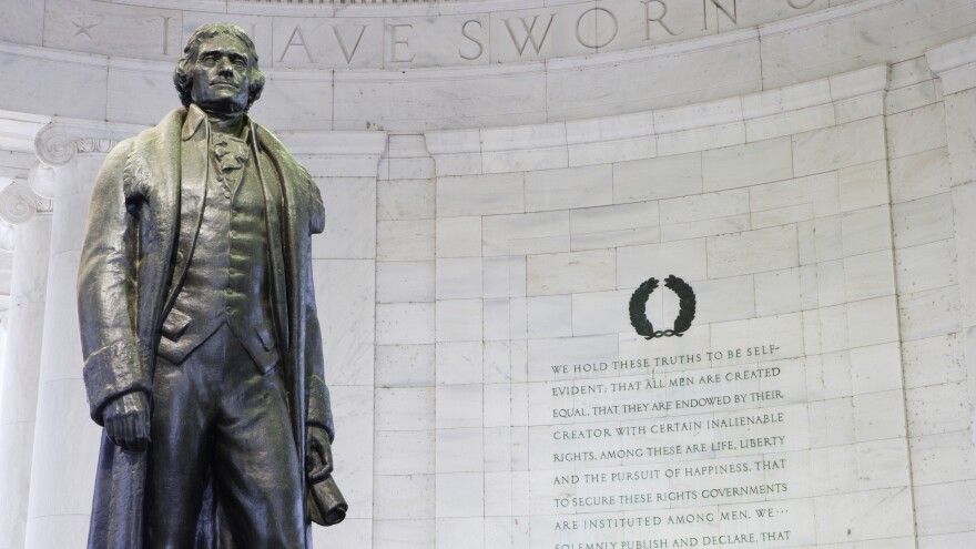 """Thomas Jefferson owned hundreds of slaves, yet he also wrote that """"all men are created equal."""" How did he square the contradictions between his values and his everyday life?"""