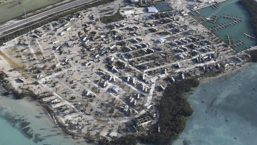 Trailer homes in the Florida Keys overturned during Hurricane Irma are seen Monday.