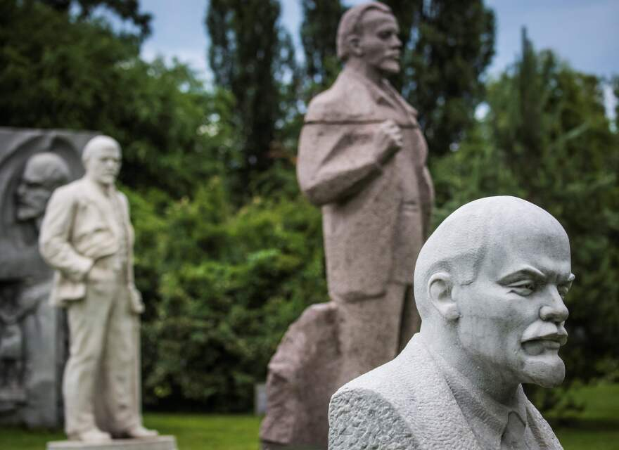 Sculptures of Vladimir Lenin, founder of the Soviet Union, at the Muzeon in Moscow.
