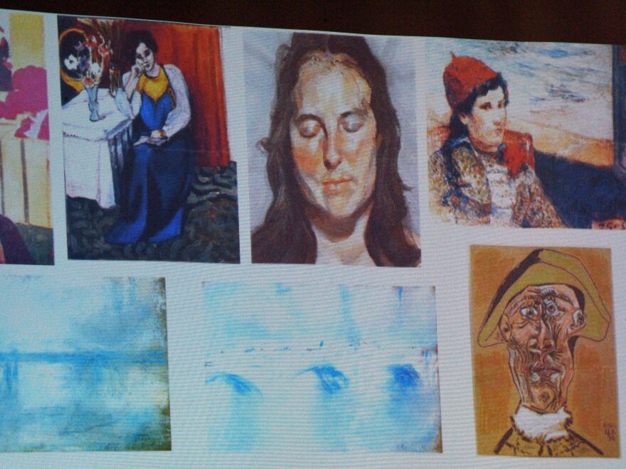 An image shows the paintings stolen from the Netherlands' Kunsthal museum in 2012 — including Picasso's <em>Tête d'Arlequin</em> at bottom right. Two Dutch citizens claim to have found the missing Picasso work, Romanian prosecutors said on Sunday.
