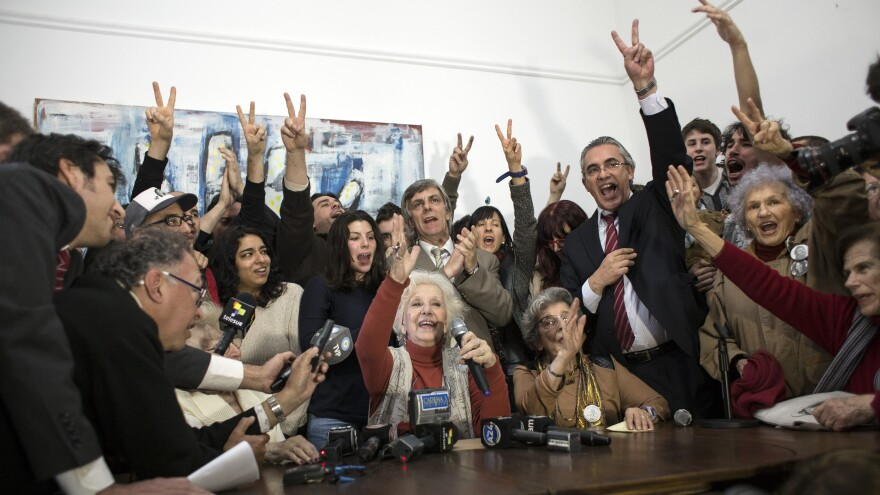 Estela de Carlotto (center), head of the Argentine human rights organization that seeks to reunite babies stolen decades ago with their biological relatives, announced on Monday she had located her 36-year-old grandson.