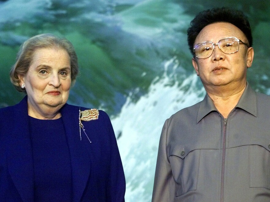 Then Secretary of State Madeleine Albright and North Korean leader Kim Jong Il stand side-by-side at the Pae Kha Hawon Guest House in Pyongyang, North Korea, on Oct. 23, 2000.