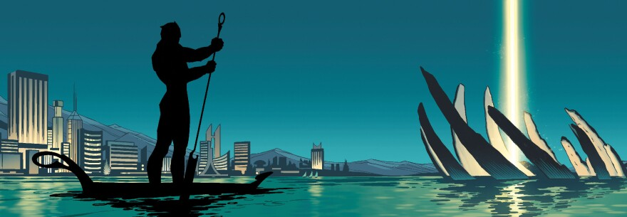 The Black Panther enjoys an outing on the water in this illustration from his comic book.