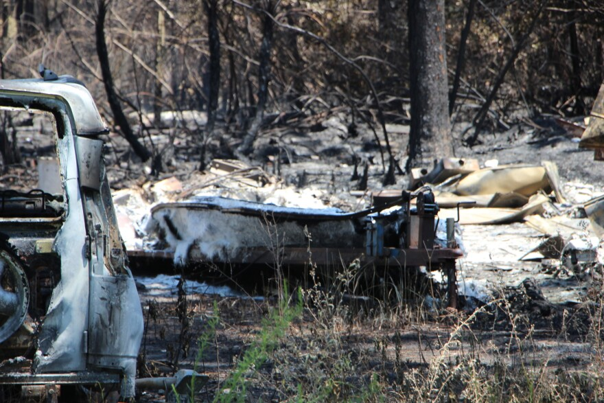 This boat was destroyed in a wildfire that resulted in 36 homes being destroyed in Eastpoint, Florida near Apalachicola.   June 27, 2018.