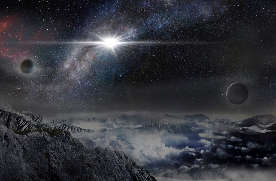 An artist's impression of the superluminous supernova as it would appear from a planet in the same galaxy, about 10,000 light-years away. The exploding star is 570 billion times brighter than our sun.