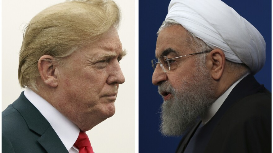 """President Trump issued a strongly worded all-caps, late-night tweet after Iranian President Hassan Rouhani (right) said that war with Iran would be """"the mother of all wars and peace with Iran is the mother of all peace."""""""