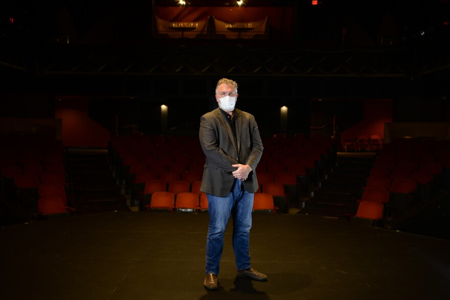 Kranzberg Arts Foundation Executive Director Chris Hansen stands in the empty Grandel theater. The Kranzberg will soon start training hundreds of local arts professionals in its coronavirus safety protocols. [5/7/20]