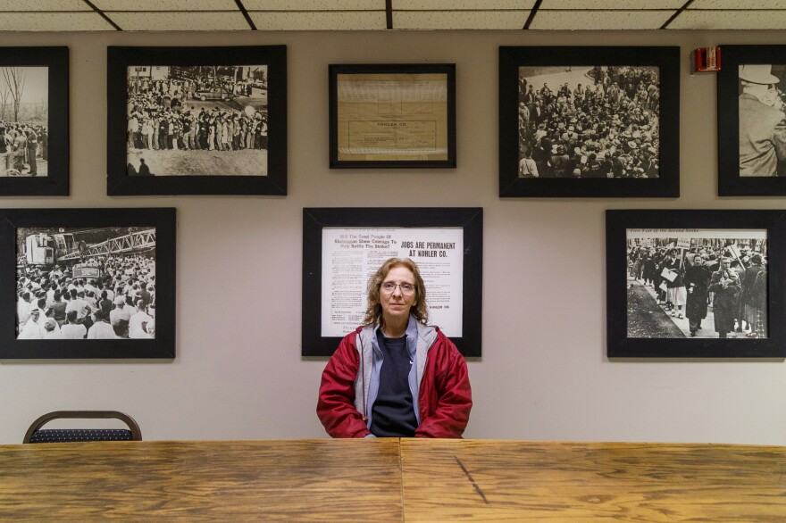 Cindy Hering, mother of Courtney Hering, sits inside the UAW Local 833 union hall in Sheboygan, Wis. She has worked in the Kohler plant for nearly 40 years.