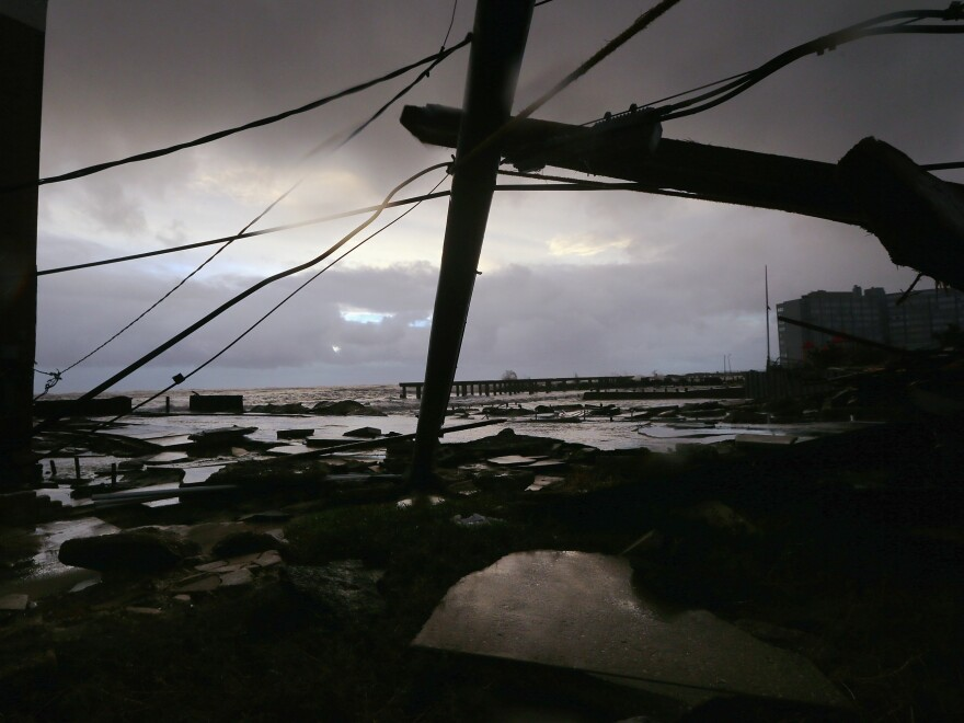 Debris and sections of a destroyed boardwalk in Atlantic City, N.J., earlier today.