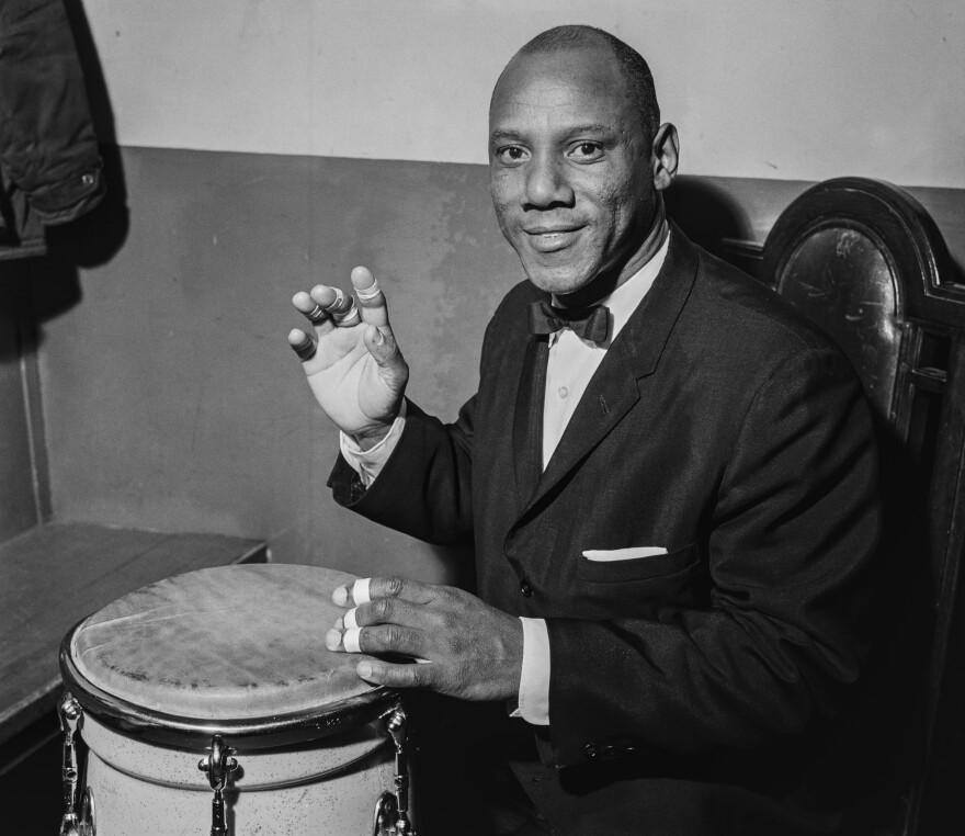 Cuban-born percussionist Candido Camero, circa 1960.