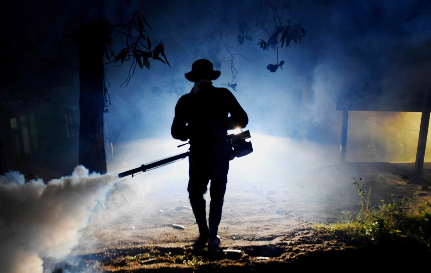 A worker fogs a neighborhood on the outskirts of Colombo in Sri Lanka in an effort to ward off mosquitoes. The country is facing an outbreak of dengue fever, a mosquito-borne disease.