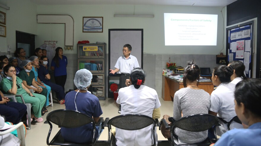 Nepali surgeon Shankar Man Rai frequently lectures to nurses, therapists and other health care workers on the special needs of burn patients at Kirtipur Hospital in Kathmandu.