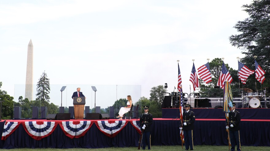 Trump speaks during a Fourth of July event on the South Lawn of the White House.