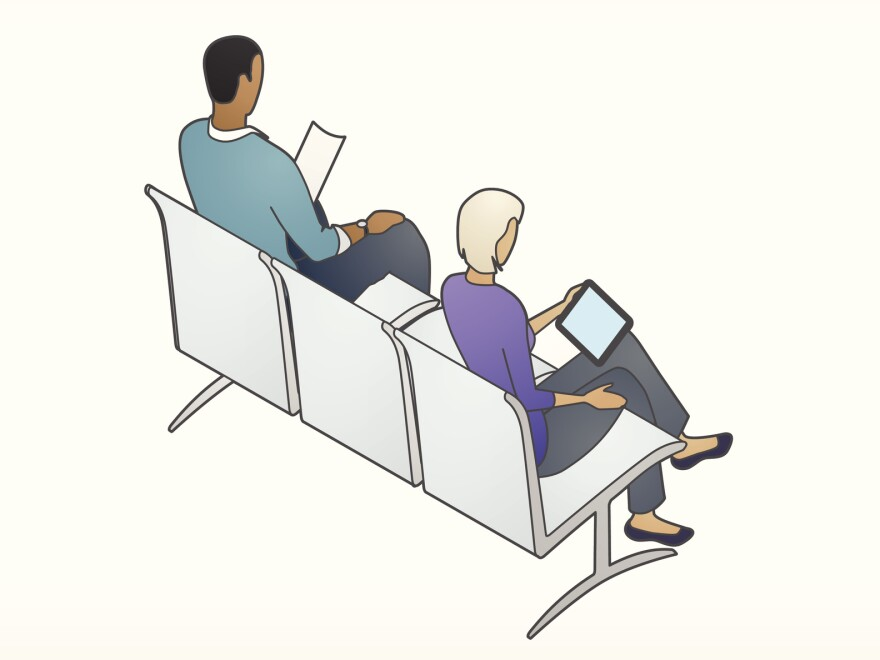 Illustration of a man and woman sitting and reading in waiting room chairs.