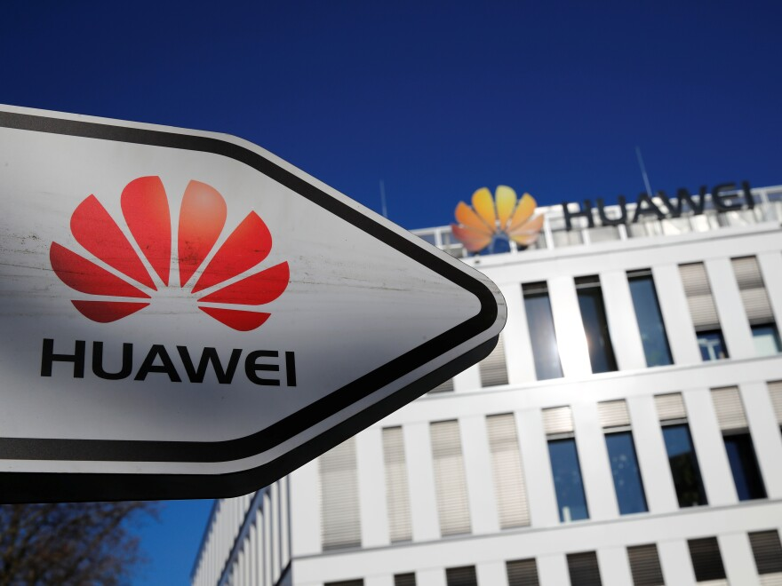 The German headquarters of Chinese telecommunications giant Huawei in Duesseldorf, Germany. The U.S. says it may stop sharing intelligence with Germany if it adopts Huawei's 5G technology.