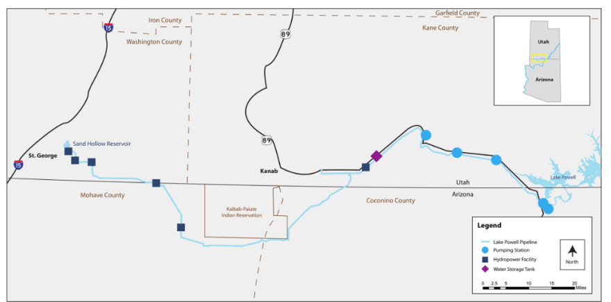 Map of lake powell pipeline.