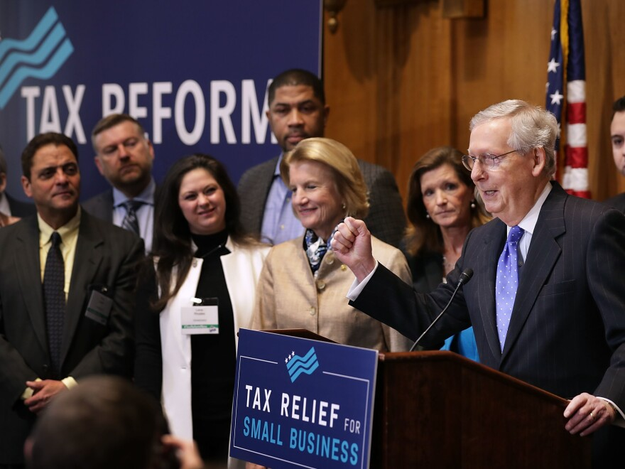 Senate Majority Leader Mitch McConnell addressed a tax reform news conference on Capitol Hill last Thursday, alongside Sen. Shelley Moore Capito of West Virginia and representatives of small-business groups.