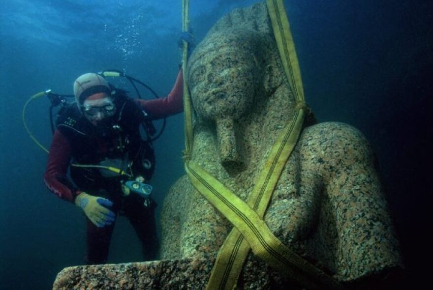 """A total of 293 objects discovered in the Mediterranean Sea comprise """"Sunken Cities: Egypt's Lost Worlds,"""" an exhibition that runs from March 25 to Sept. 9."""