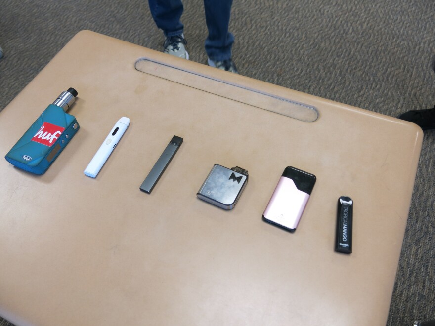 Don Daniels, a Chatfield High teacher in Littleton, Colo., runs the school's tobacco education program, and keeps these vaping devices (confiscated from students) on hand to show students and parents what they look like.