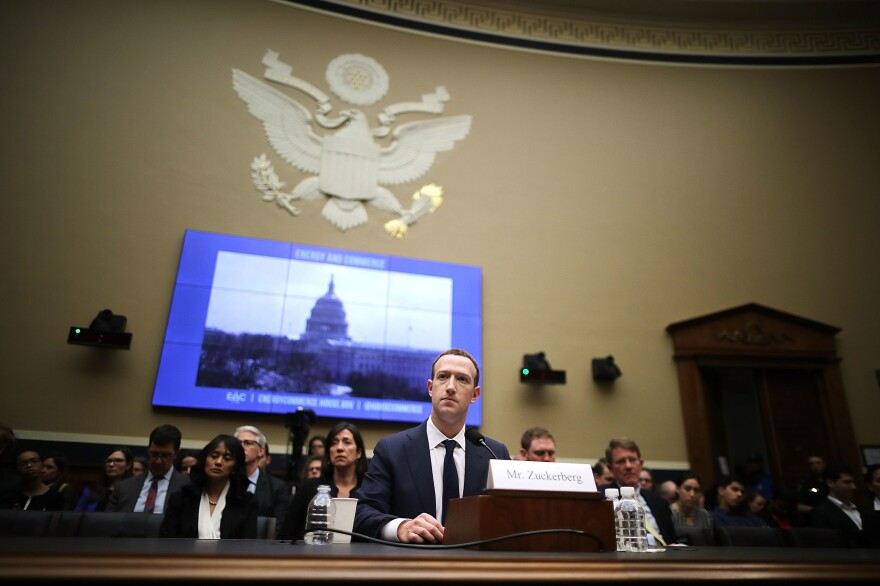 Facebook CEO Mark Zuckerberg testifies before the House Energy and Commerce Committee in April 2018 on Capitol Hill.