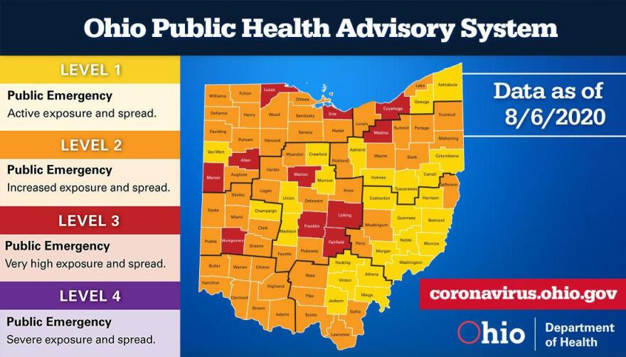 Map of ohio coronavirus alert levels by county.