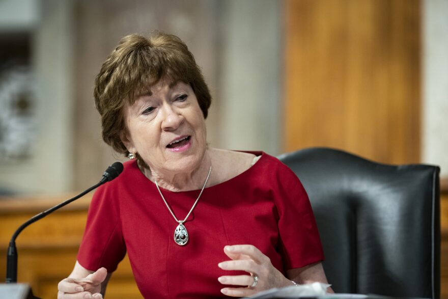 Sen. Susan Collins, R-Maine, speaks during a Senate Health, Education, Labor and Pensions Committee hearing on Capitol Hill in Washington, Tuesday, June 30, 2020. (Al Drago/Pool via AP)