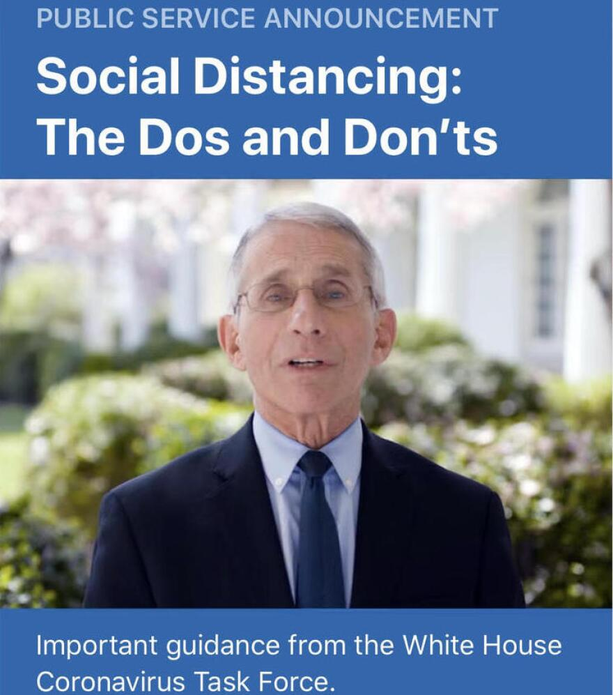Dr. Anthony Fauci speaks in a video promoted on the CDC app, in an effort to reach younger people about the seriousness of COVID-19.