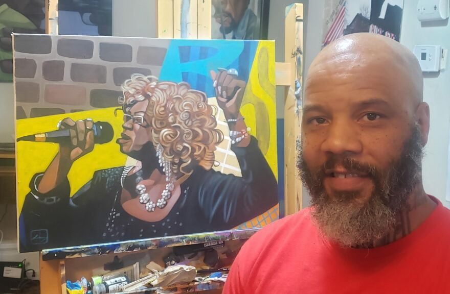 Cbabi Bayoc with his portrait of vocalist Renee Smith, nicknamed the Queen of St. Louis soul. St. Louis Blues Society commissioned it for a limited edition set of prints, which it will sell to raise money for its Mission Fund.. [7/15/20]