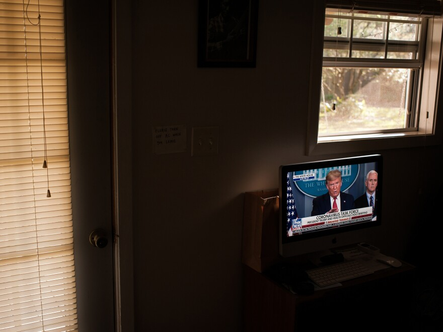I streamed a press conference given by President Trump in our backyard guesthouse where I was self-quarantining. During quarantine, I would try and watch the press conferences on a daily basis. I think his interactions with the media were historic and will be analyzed years from now when we examine America's response to the virus. <em>March 26, 2020, Cleveland, Miss.</em>
