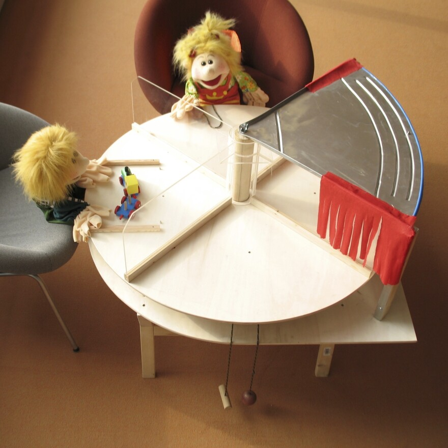 "In some of the experiments, a puppet would ""steal"" a cookie from another puppet or the child by moving the turntable to place the treat in front of herself."