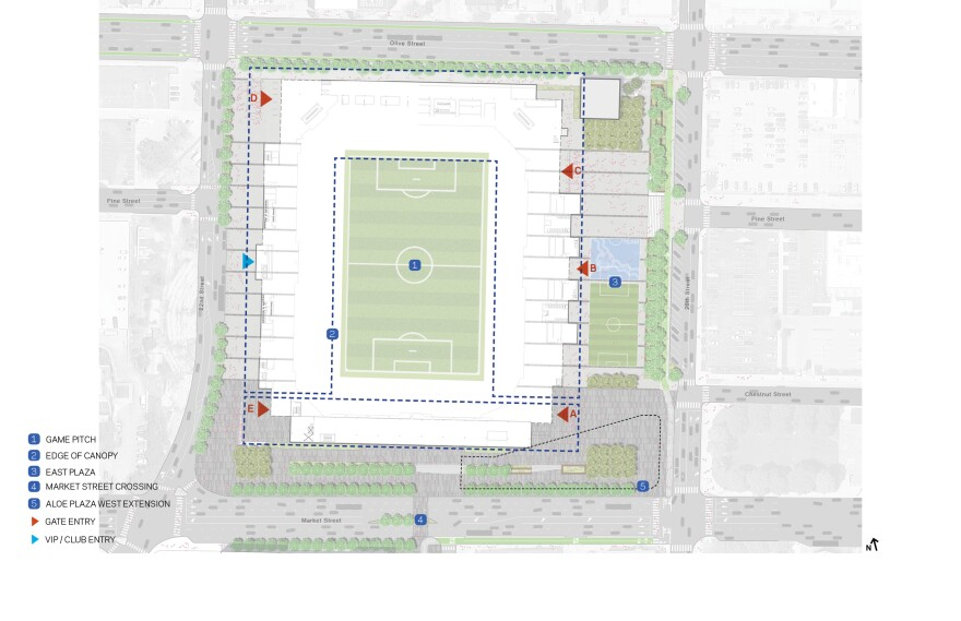 Design drawings show the proposed MLS stadium between 20th and 22nd streets with Market Street on the southern edge and Olive Street as its north border.