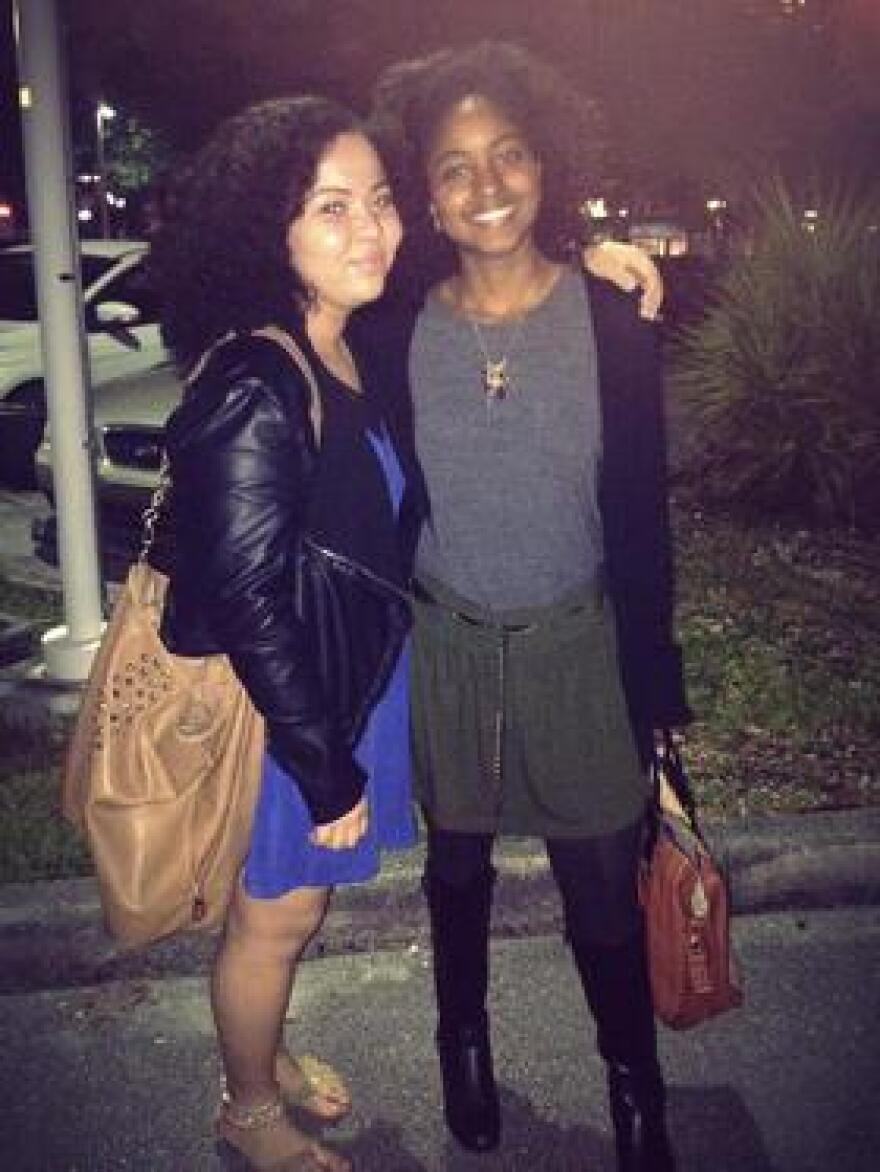 Sam Caballero and Alexa Randolph, her friend and classmate from Miami Country Day School, in 2014, when they went to see a play together at the Adrienne Arsht Center for the Performing Arts.
