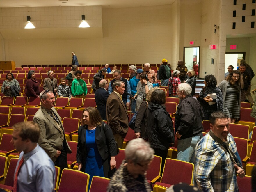 Rep. Spanberger's constituents file into the Nottoway High School auditorium. The former CIA officer and first-time politician knew that once she defeated Republican Dave Brat to represent this district she'd have to defend her promise to work across the aisle pretty often.