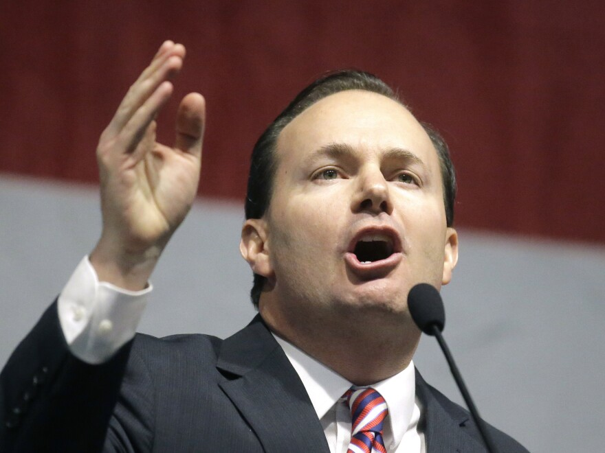 Republican Sen. Mike Lee speaks in May in Sandy, Utah. He was one of two senators who said Monday he wouldn't support his party's health care overhaul plan.