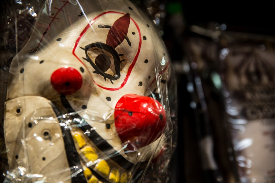 A creepy clown mask on display at Total Fright in Crystal City, Va.