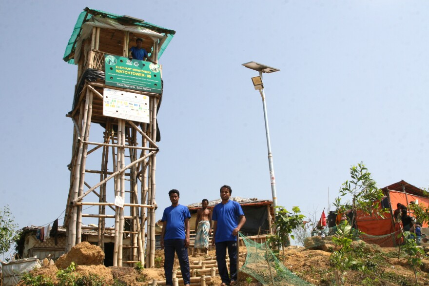The U.N. constructed this elephant watch tower in the Kutupalong refugee camp in Bangladesh so residents can be on the lookout.