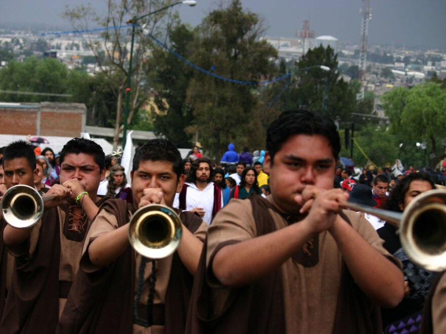 Residents of the Mexico City neighborhood of Ixtapalapa re-enact Jesus Christ's final days.