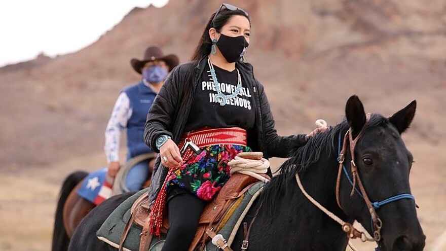 Allie Young, a Diné woman on the Navajo Nation in Arizona, is among a group of Native Americans riding on horseback to the polls on Election Day.